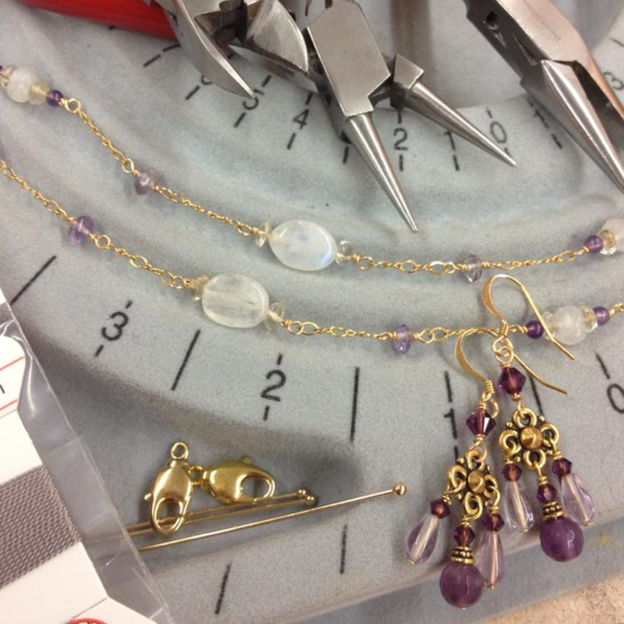 Start from the top, or shall we say start with the tools! We cover all the do's and don'ts in beading and set you on the right path to becoming a professional beader! Walk away with a bracelet, a corded necklace, and a pair of earrings all made by you!